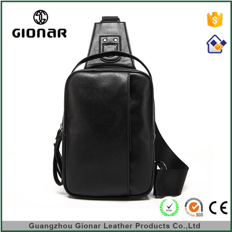High Quality PU Leather Business One Signal Shoulder Wholesale Sling Mens Chest Bag