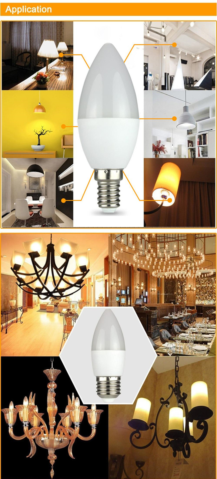 LED CANDLE BULB E14 E27 3W 4W 5W 6W 7W 8W Flame LED Bulb Candle Lamp Light , LED-C37