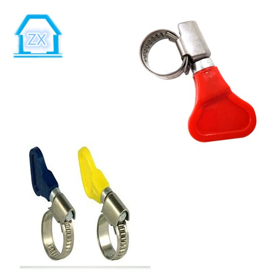 colorful plastic butterfly key turn handle hose clamp
