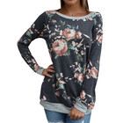 Long sleeve plus size floral printed ladies tops fashion soft women blouse