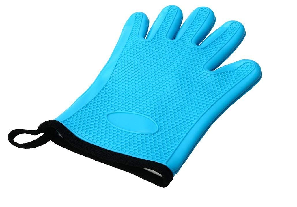 Silicone Cotton Microwave Oven BBQ Oven Mitt Heat Resistant Potholder Gloves by AdvancedShop (Blue)