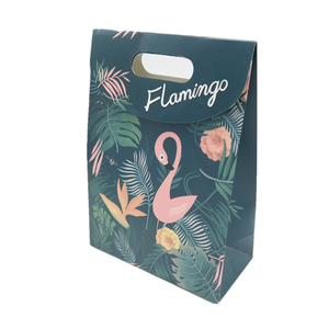 Custom funny gift die cut handle paper bag with magic tape closure