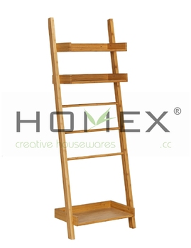 bamboo towel ladder with bottom shelf bamboo towel rail homex bsci buy bamboo towel ladder. Black Bedroom Furniture Sets. Home Design Ideas