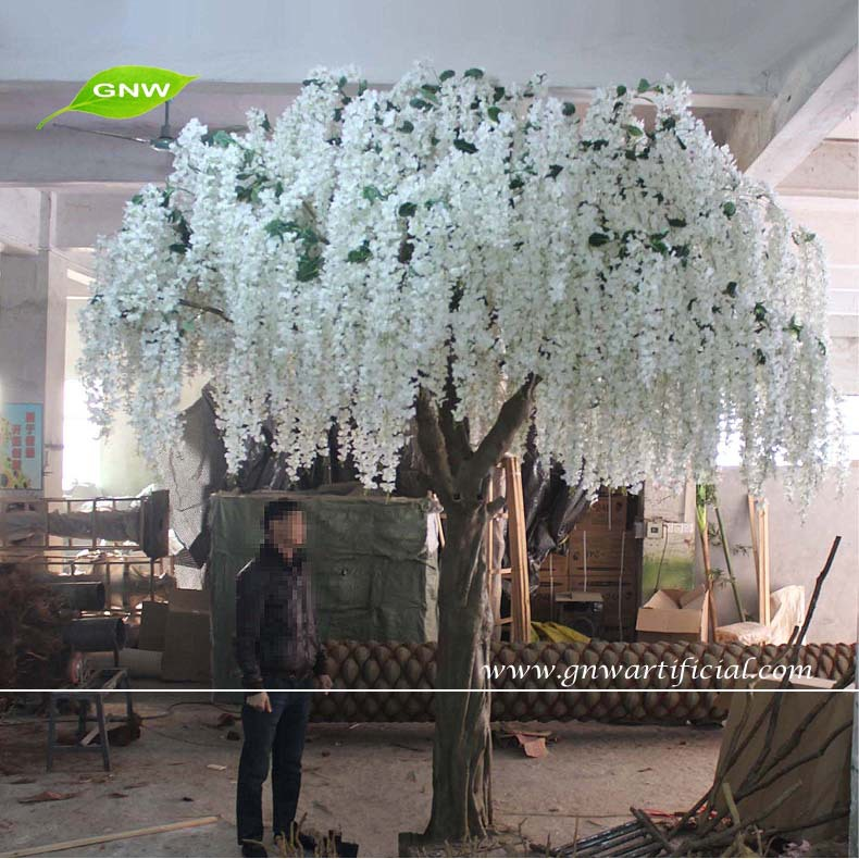 Bls039 1 Gnw Artificial Cherry Blossom Wedding Wishing Tree 12ft White For Indoor