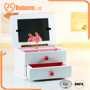 Wood dancing ballerina musical jewelry box with drawers