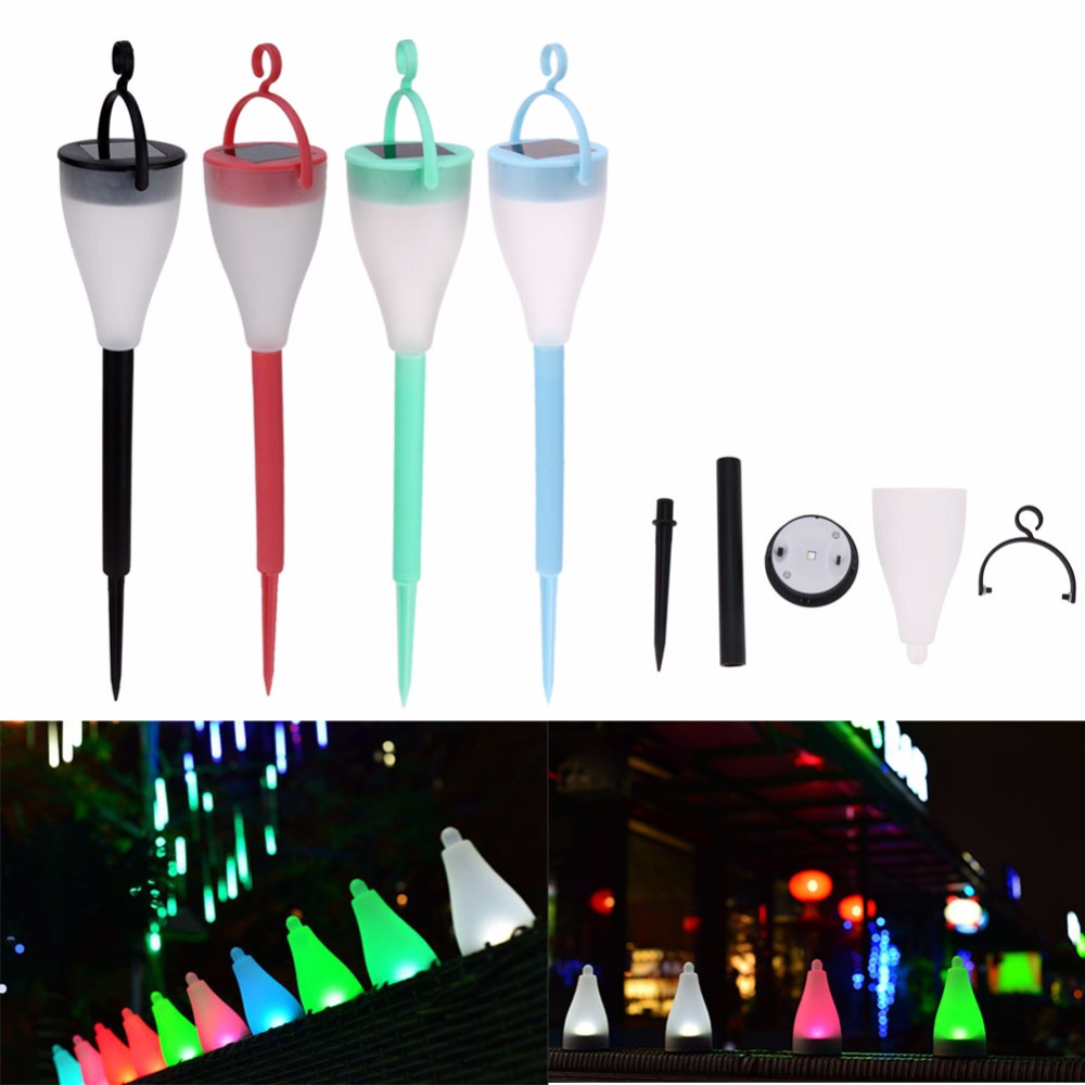 Rainbow 7 color changing Lawn Pathway Lamp 3 Lighting solar garden stick light