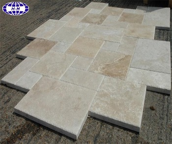 China Brushed Outdoor French Pattern Travertine Tile
