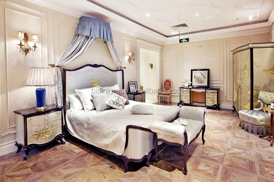Royal Elegant English Style Victorian Silver Floral Painted Solid Wood Crown Bed With Matching Bedroom Items Bf12 05244a Buy Classic Wood Carve