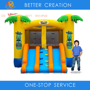 Amazing outdoor cheap price inflatable tropical TIKI island jumping bouncer for children playing games