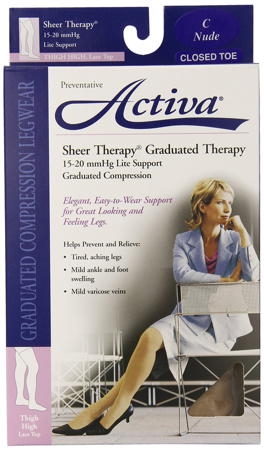 Activa Sheer Therapy 15-20 mmHg Thigh High Closed Toe Hosiery with Lace Top, Nude, Size C,