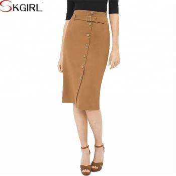 Military On Up Formal Pencil Elegant Office Las Wear Skirt Knee Length 2018
