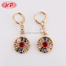 Fantasy Gold Locket Pendant Designs Colorful Crystal Dubai Gold Jewelry Earring For Party Girls