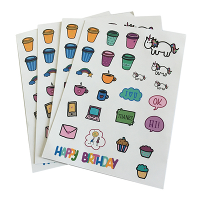 China OEM Promotional Custom Cute Logo Vinyl PVC Die Cut Out Sticker Sheets Pack 100