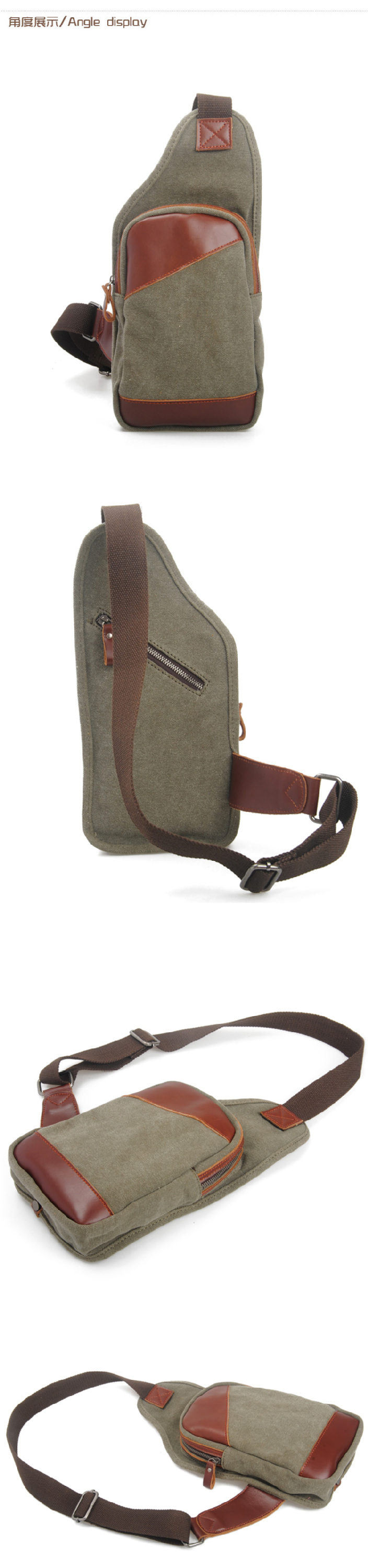 8670 Unique Style Khaki Canvas Cross Body Backpack Cross Body ...