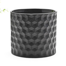 High quality glass candle holder black glass candle container for home