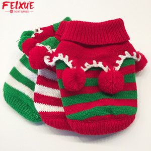Christmas Dog Jumpers Sweaters Striped Winter Pet Sweaters