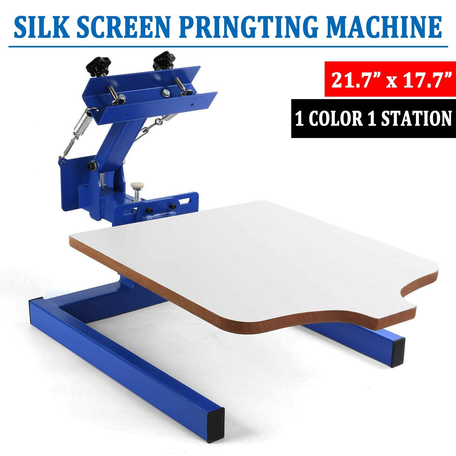 "SHZOND Screen Printing Press 1 Color 1 Station Silk Screen Machine 21.7"" x 17.7"" Removable Pallet Screen Printing Machine Press for T-Shirt DIY Printing (1 Color 1 Station)"