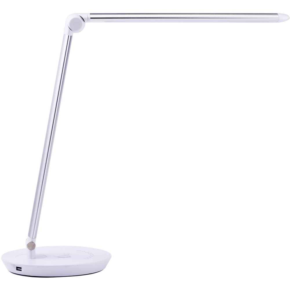 Uping Led Desk Lamp with USB Charging Port | Anti-Glare Touch Control desk lamp | 7 Color Modes & 7 Brightness)Memory Function | Multifunctional Table Lamp | Silver