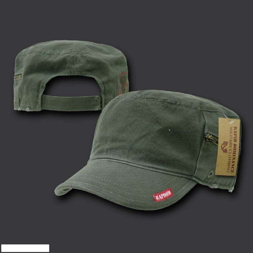 ce4a9380b0bdb Get Quotations · New Olive Military Cadet Hat Cap GI Patrol Zipper Pocket Hats  Caps