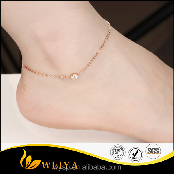 Fashion stainless steel rose gold body jewellery zirocnia anklets
