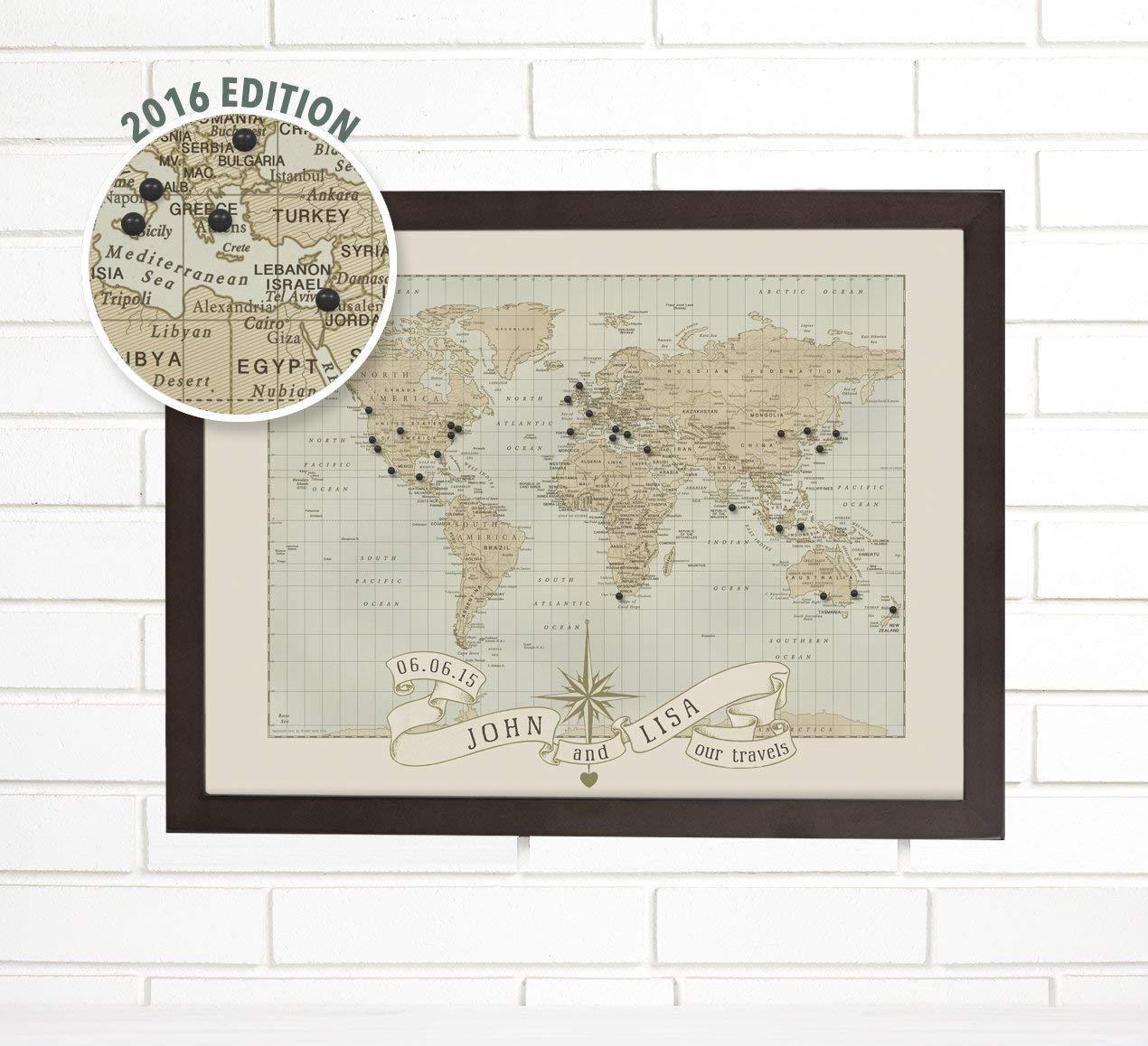 "Customized""Anniversary and Wedding"" Travel Push Pin Map Art"