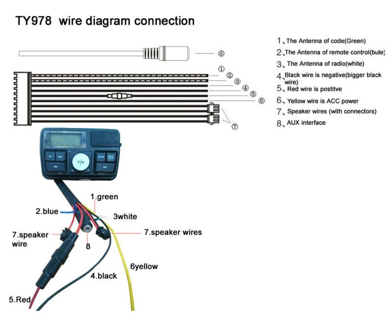 ty978 fm radio mp3 mmc waterproof two way lcd display motorcycle JVC Car Audio Wiring Diagram ty978 fm radio mp3 mmc waterproof two way lcd display motorcycle alarm