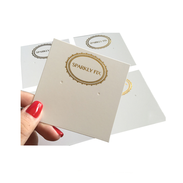 Plain white 핫 금 스탬핑 custom earring cards displays 소지자 와 logo