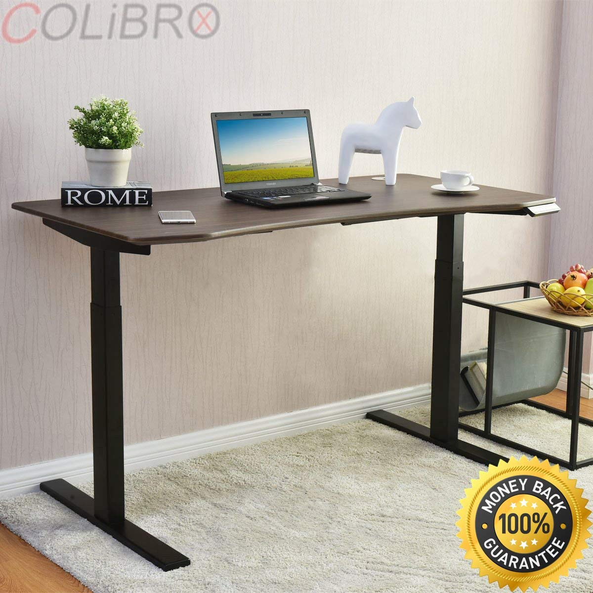 """COLIBROX--55"""" Wide 7-Button Electric Sit to Stand Desk Height Adjustable 28""""- 47"""" Walnut. uplift height adjustable sit stand desk. electric sit stand desk. best standing desk on amazon."""