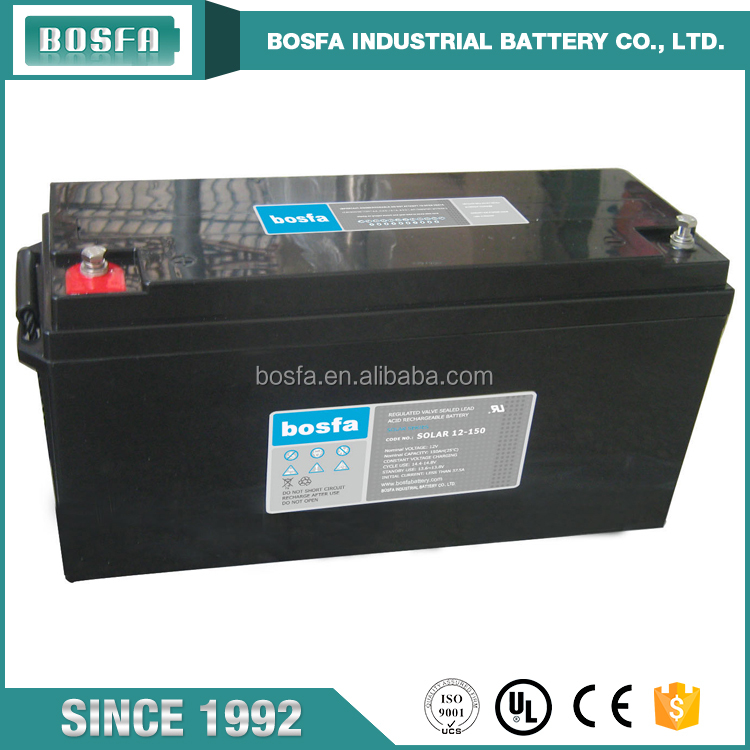 Sealed and maintenance free long life 12v 150ah deep cycle battery solar