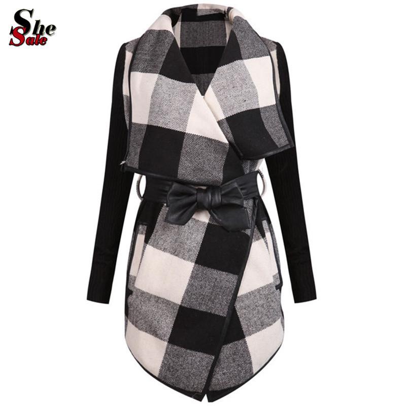 Casaco Feminino осень марка дизайн женщины внешний одежда свободного покроя сплайсинга черный белый длинный рукав шотландка ремень пальто