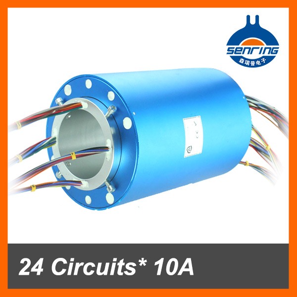 Conductive slip ring 24 wires 10A+24 signal wires*2A with bore size 80mm through hole slip ring