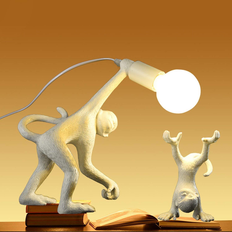 Waineg New Nordic Designer/Monkey/Desk Lamp, Floor Lamp, Creative Bedroom Living Room Study Decoration Resin Table Lamp Children'S Room Eye Protection Lamp (Gold/White/Black), c