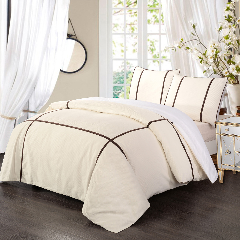100 Cotton Fustian Cord Bedding Set Duvet Cover Set White