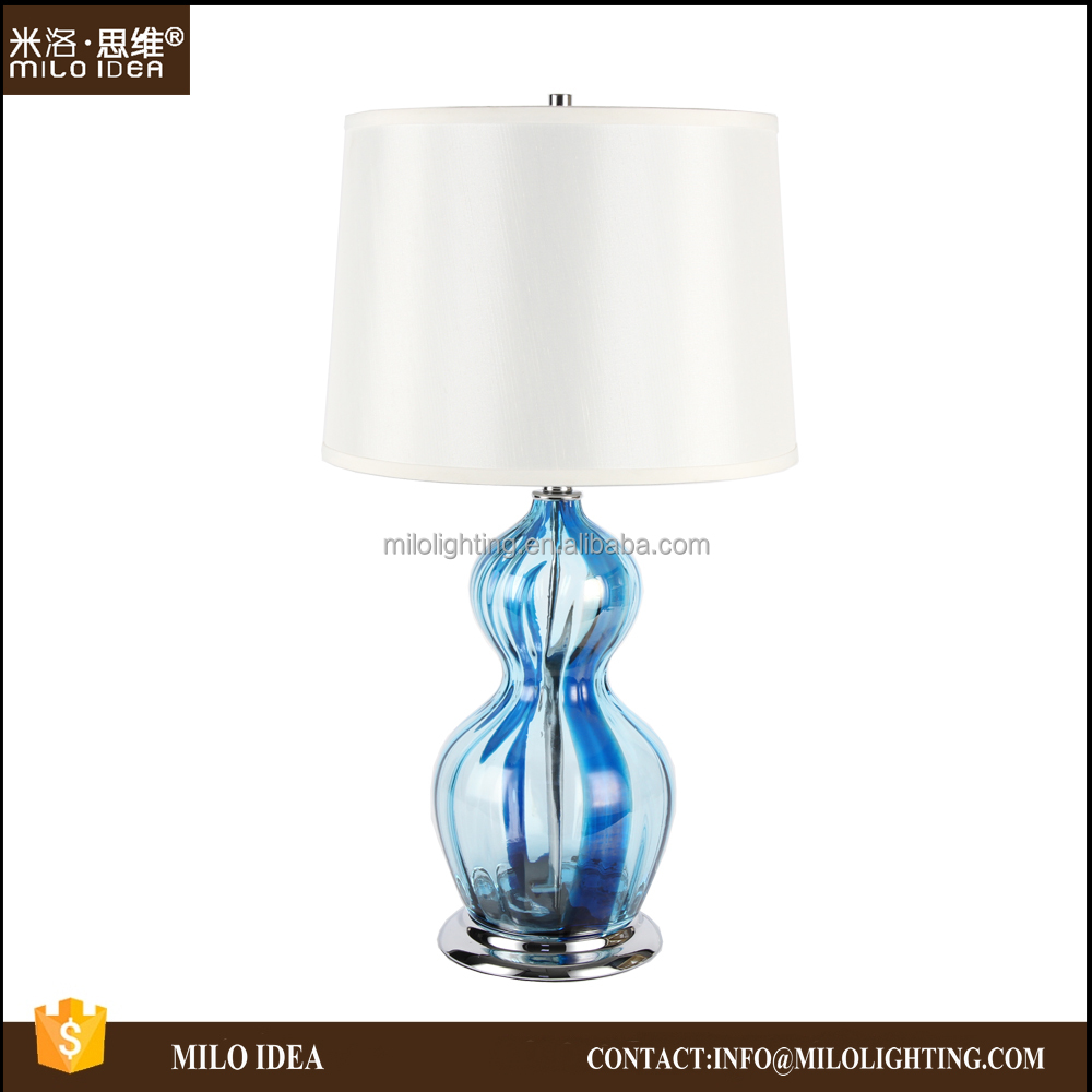 Ocean Blue Glass Bedside Table Lamp For hotel