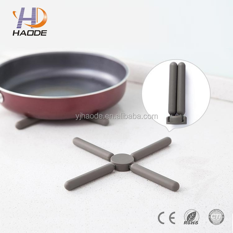 new design fold silicone hot pot holder / silicone pot mat