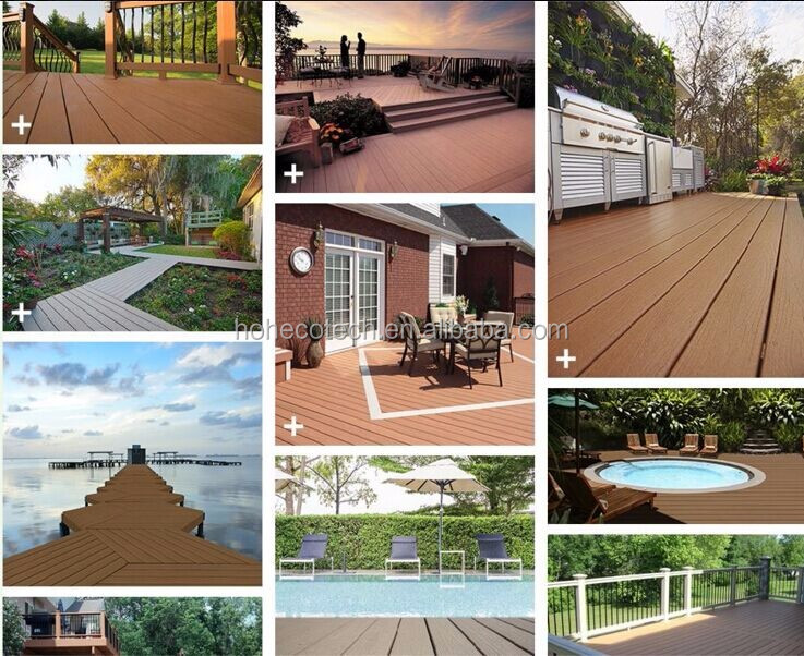 135*25mm wood texture UV-resistence outdoor wood plastic floor board hollow decking board