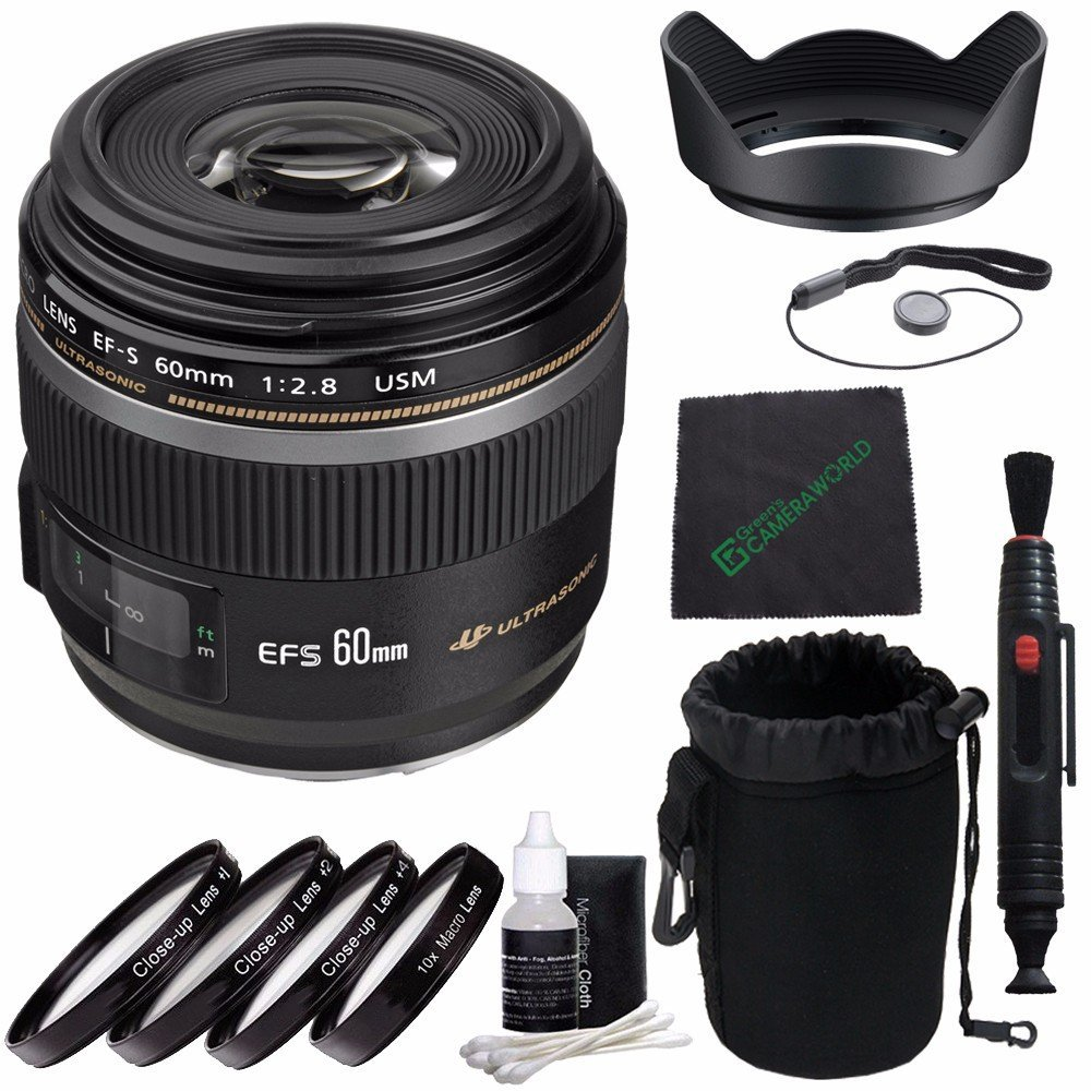 Canon EF-S 60mm f/2.8 Macro USM Lens + 52mm +1 +2 +4 +10 Close-Up Macro Filter Set with Pouch + SLR Lens Pouch + Lens Cleaning Pen + Lens Hood + Cleaning Cloth + Lens Cap Keeper Bundle 4