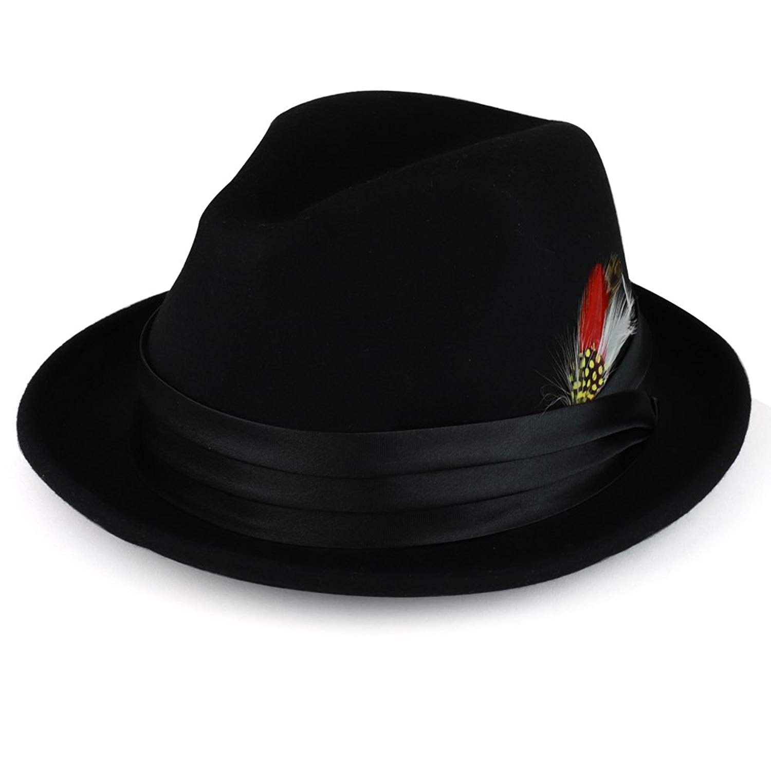 f31b69b3b2d0a Get Quotations · XXL Oversized Wool Felt Fedora Hat with Feather Satin Hat  Band
