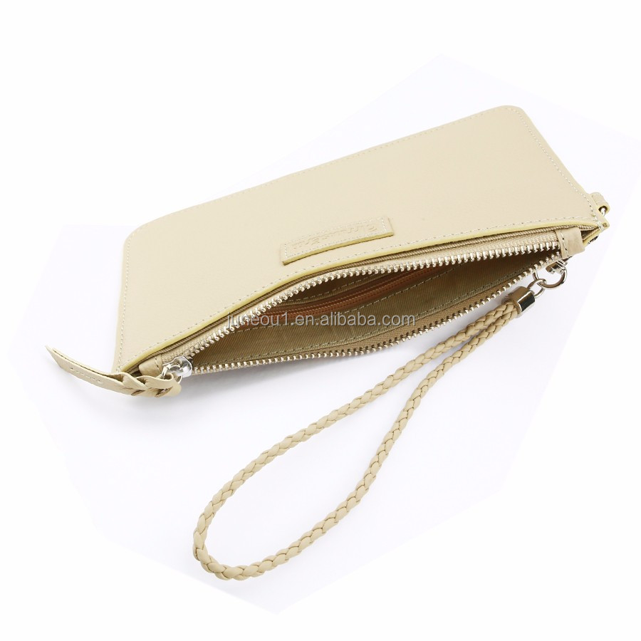 2016 New Products Fashion Genuine Leather Small Handbag Clutch Bag Leather Wallet with Outer Pocket Inner Pocket for Ladies