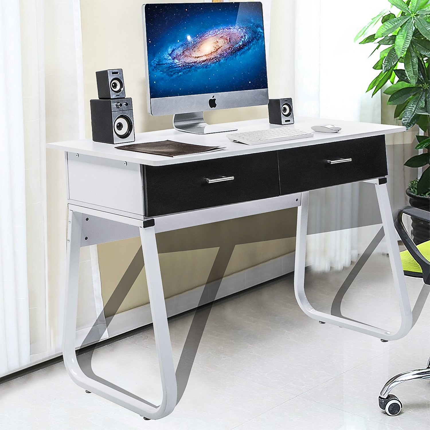 Merax Solid CARB Board Home and Office Computer Writing Desk Table ,Office Desk with Drawers ,White