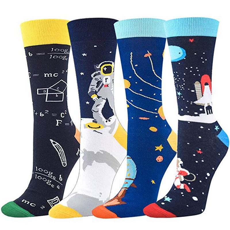crew men cotton socks custom starry sky outer space socks astronaut funny happy socks