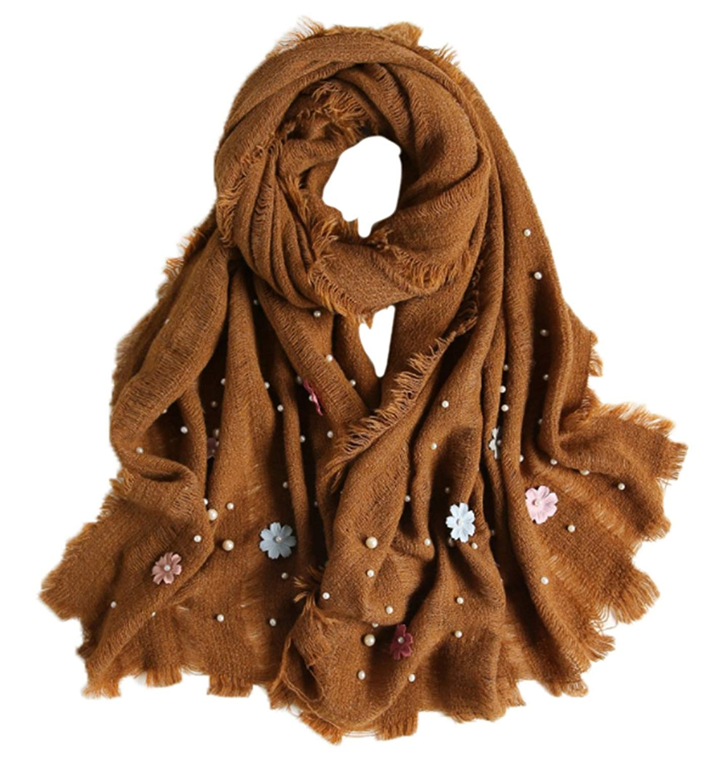 Candy Colors Women Fashion Scarf Decorated with Small Flowers and Pearls Long Large Lady Tassels Shawl