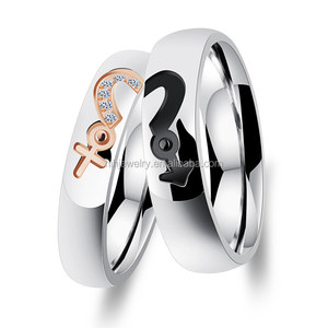 Woman and men stainless steel diamond half heart ring wedding rings set for couples express ali jewelry