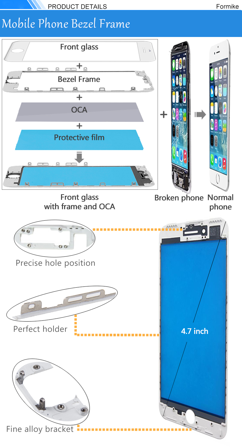 Formike Front Glass Lens With Front Bezel And OCA Glue Sheet For Iphone 8