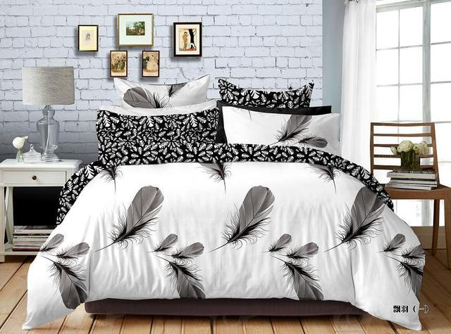 Feather Black White Bedding Set 100% Cotton Leopard Bed