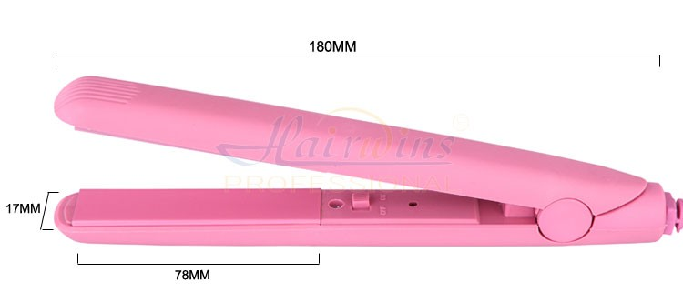 HW-832 Pink best private label mini flat iron hair straightener and curling iron for travel