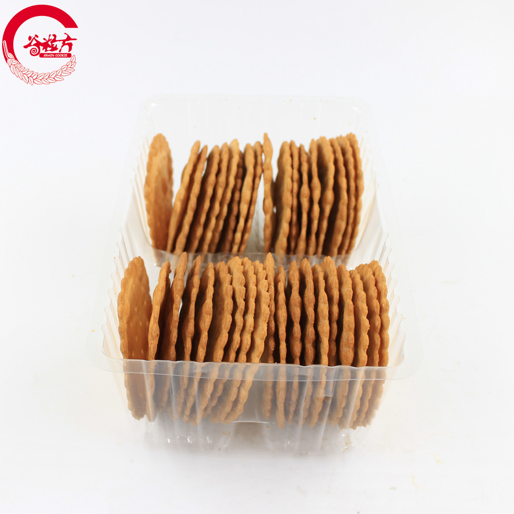 Puff food thin biscuit suppliers in china Round Sweet Cracker Biscuit