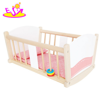 Best Sale Pretend Play Wooden Doll Bed Wooden Rocking Crib Wooden