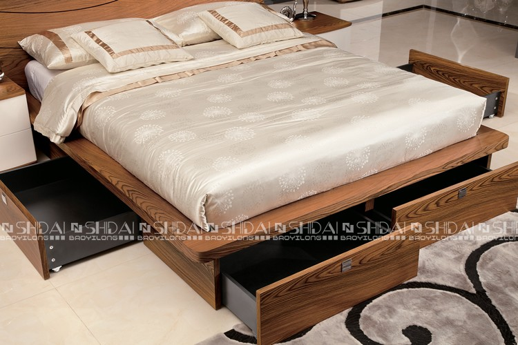 New model simple design wooden storage platform modern bed for Latest model bed design