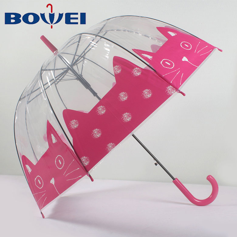 China supplier hot sales cute print transparent poe custom clear umbrella